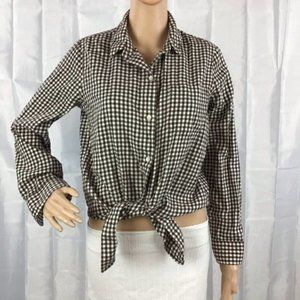 Madewell Flannel Tie-Front Shirt in Gingham Check Size M Brown White Long Sleeve
